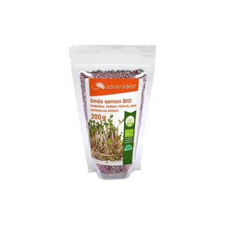 Směs semen na klíčení 2 BIO - brokolice, ředkev růžová, jetel 200g - CZ-BIO-003